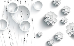 Минималистическая абстракция. Цветы и круги