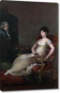 Гойя и Лусиентес Франсиско де. Мария де Томаса Палафокс и Портокарреро, маркиза Виллафранка, с портретом мужа