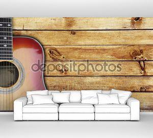 Гитара на деревянных досках