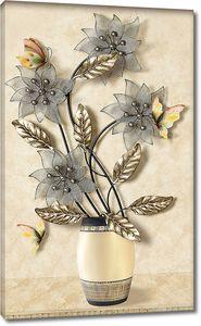 Цветы с золотыми листьями в вазе