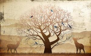 Олени у ветвистого дерева