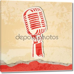Концерт гранж-постер с микрофоном