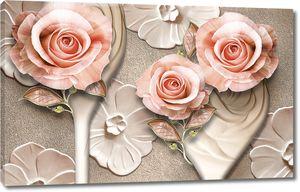Розы на фоне рельефных цветов
