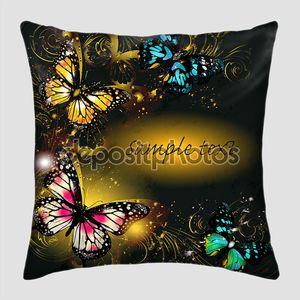 Роскошный фон с орнаментом и бабочки