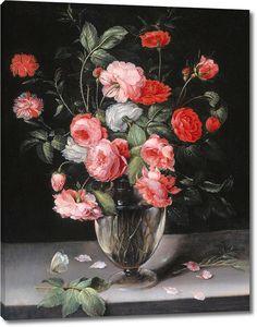 Александр Адрианссен. Натюрморт с цветами в стеклянной вазе