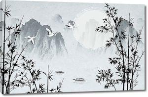 Бамбук на фоне гор