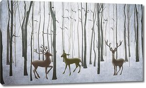 Три оленя в зимнем лесу