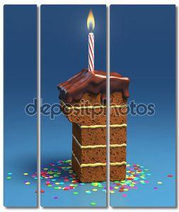 номер один в форме рождения торт с свеча