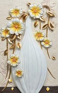 Золотые цветы на бежевом фоне в белой вазе