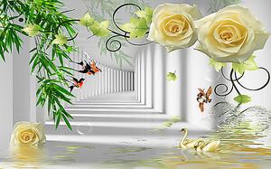 Желтые розы на фоне абстрактного коридора