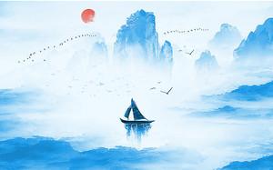 Парусная лодка в синих скалах