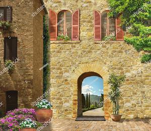 Стена итальянского дома с аркой