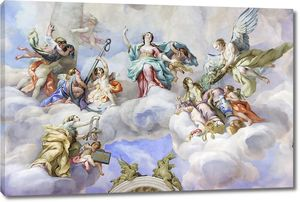 Яркая фреска святых и ангелов в церкви Святого Чарльза