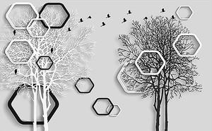 Черные и белые фигуры и деревья