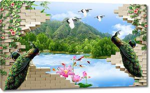 Вид на холмы из стены с павлинами