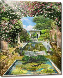 Прекрасный сад с искусственными прудами