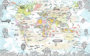 Карта континентов с дирижаблями и воздушными шарами