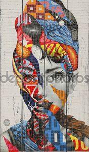 Женский портрет граффити