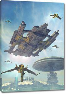 Космический корабль и футуристический город
