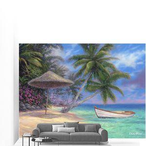 Лодка у пляжа под пальмами