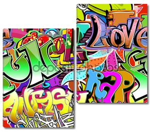Graffiti wall. Urban art vector background. Seamless hip hop tex