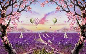 Фиолетовое поле, деревья с розовыми цветами и воздушные шары