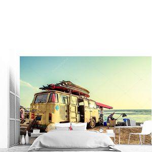 хиппи ван для серфинга на пляже