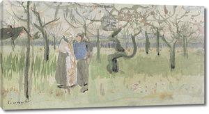 Ван Гог. Цветущий сад с двумя фигурами