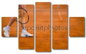 Глины теннисный корт и игрока концепции