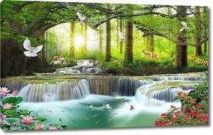 Олени на берегу порожистой реки