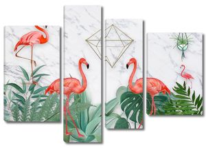 Серый мраморный фон, зеленый папоротник, фламинго