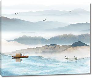 Лебеди с рыбацкой лодкой