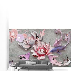 Сиреневая рыба, розовые и серые водяные лилии