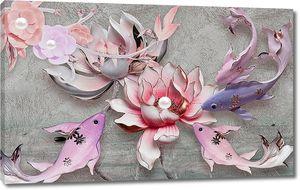 3d иллюстрация, серый текстурированный фон, большая синяя и сиреневая рыба, розовые и серые водяные лилии, два цветка с жемчугом на серой ветке