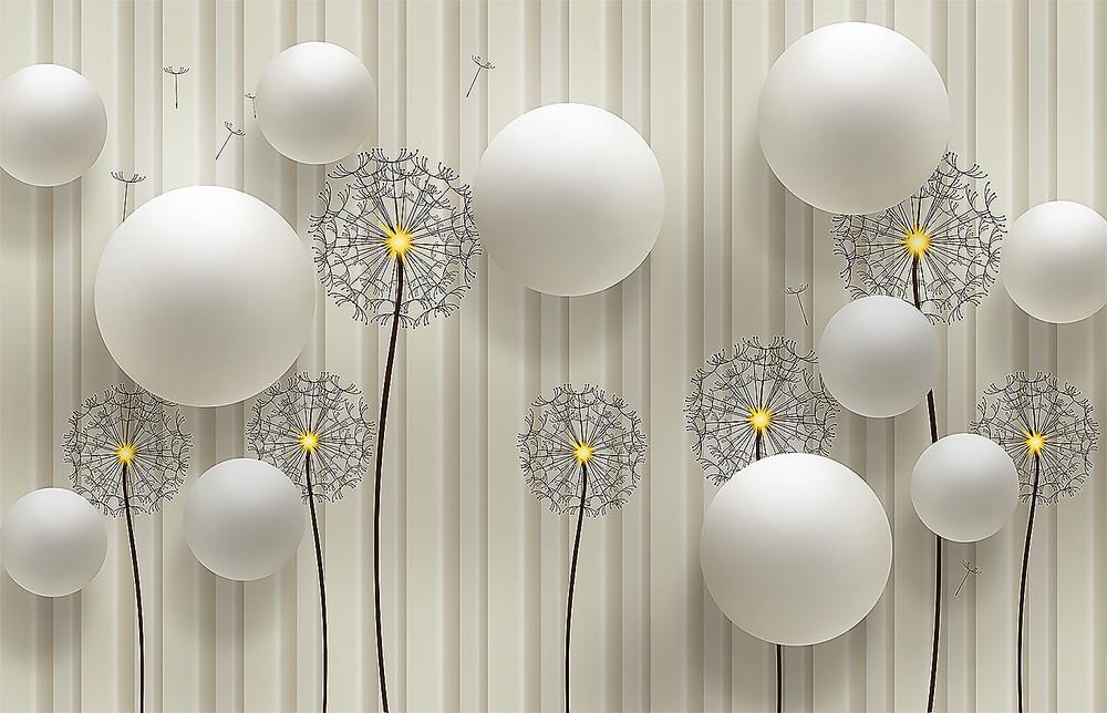 Фотообои «Одуванчики и шары», купить в интернет-магазине «Первое Ателье»™