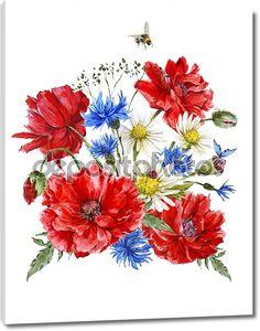 Летние цветы в букете