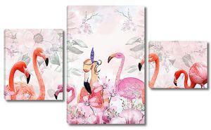 Фламинго на цветочном фоне