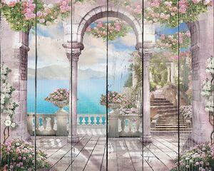 Солнечный день на веранде с цветами и колоннами