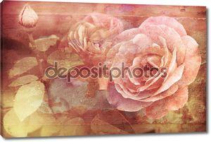 Гранж текстуру с цветочным фоном в винтажном стиле. Розы розовые цветы