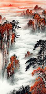 Облака в красных скалах