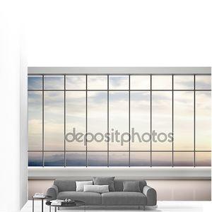 3D иллюстрации пустом помещении с большими окнами