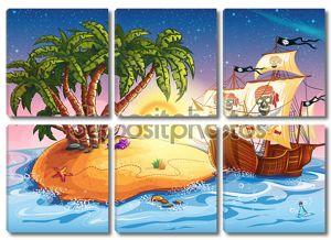 Иллюстрация острова с пиратский корабль