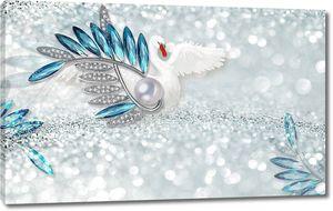 3d иллюстрация, блестящий фон, синие и белые кристаллы, большая серебряная жемчужина, белый лебедь расправил крылья