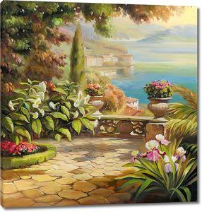 Прекрасная терраса с множеством цветов