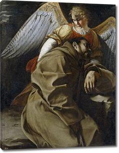 Джентилески Орацио. Св Франциск, поддерживаемый ангелом