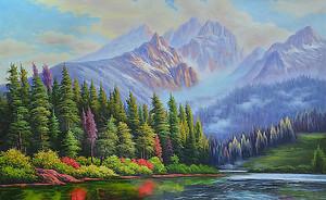 Лес и река у подножия