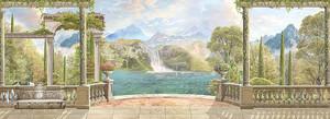 Вид с террасы на водопад в горах