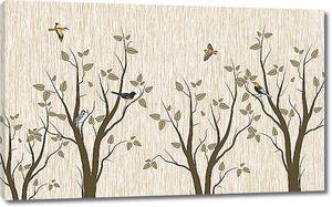 Птички на деревьях