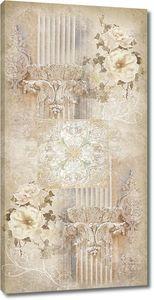 Фреска с колонной и цветами