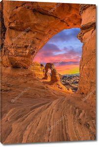 Вид на закат из скал